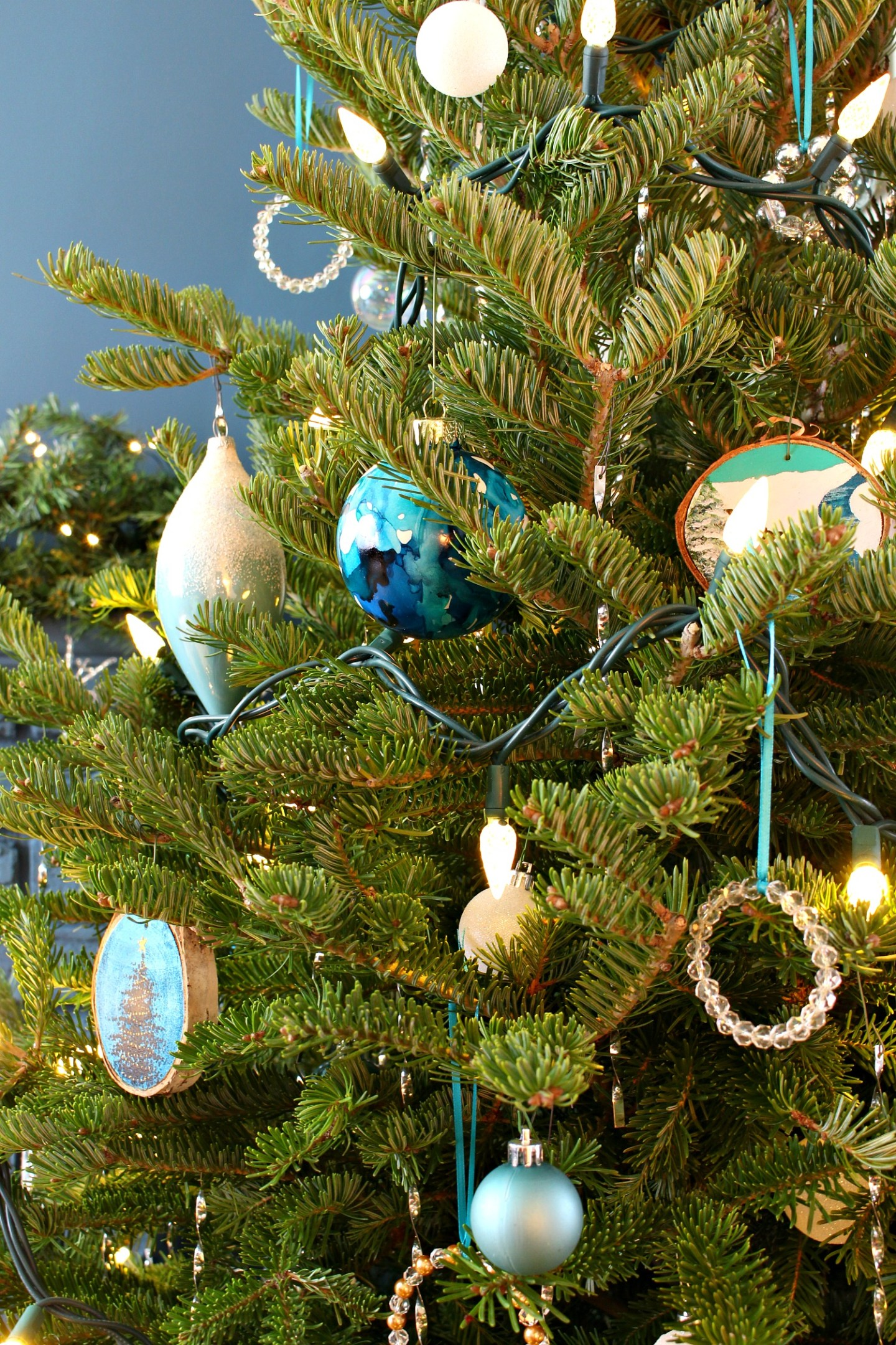 Blue and White Christmas Tree Theme Inspired by Lake Superior