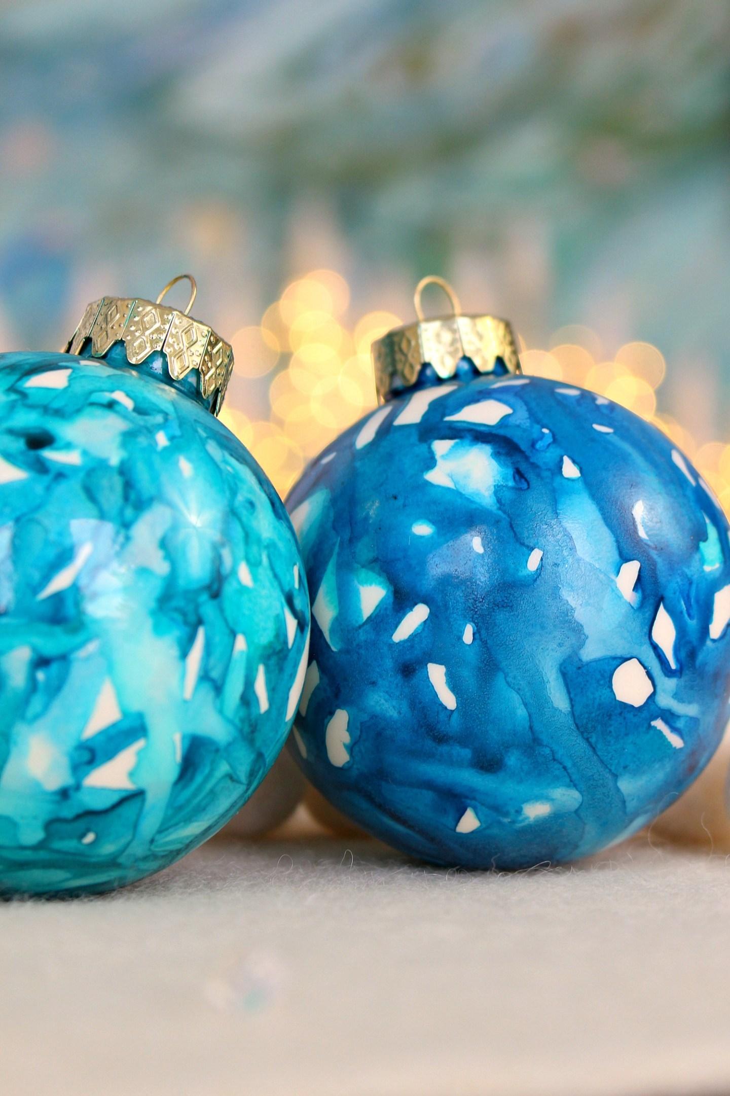 DIY Teal Christmas Ornaments