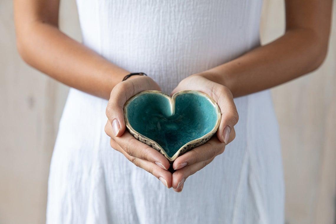 Heart Shaped Pottery Bowl