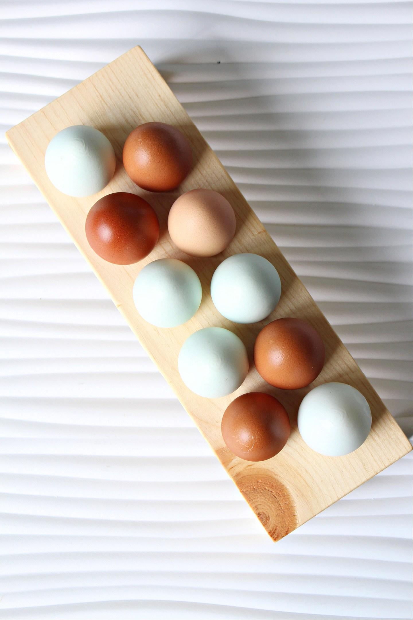 Solid wood egg holder