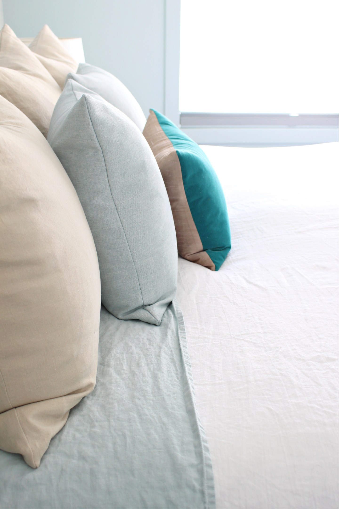 Soft Blue Linen Sheets