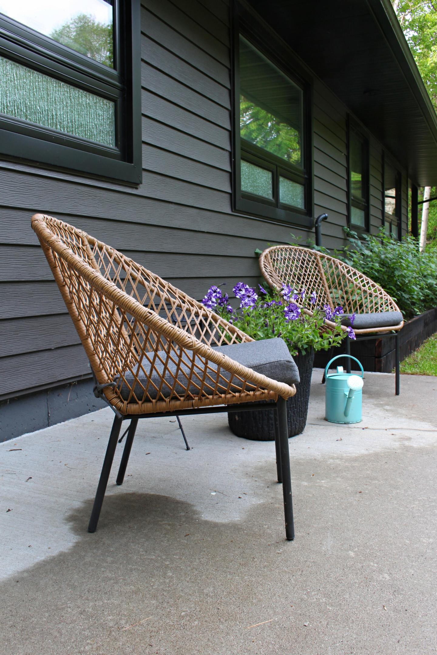 Faux Rattan Mid Century Style Outdoor Chairs