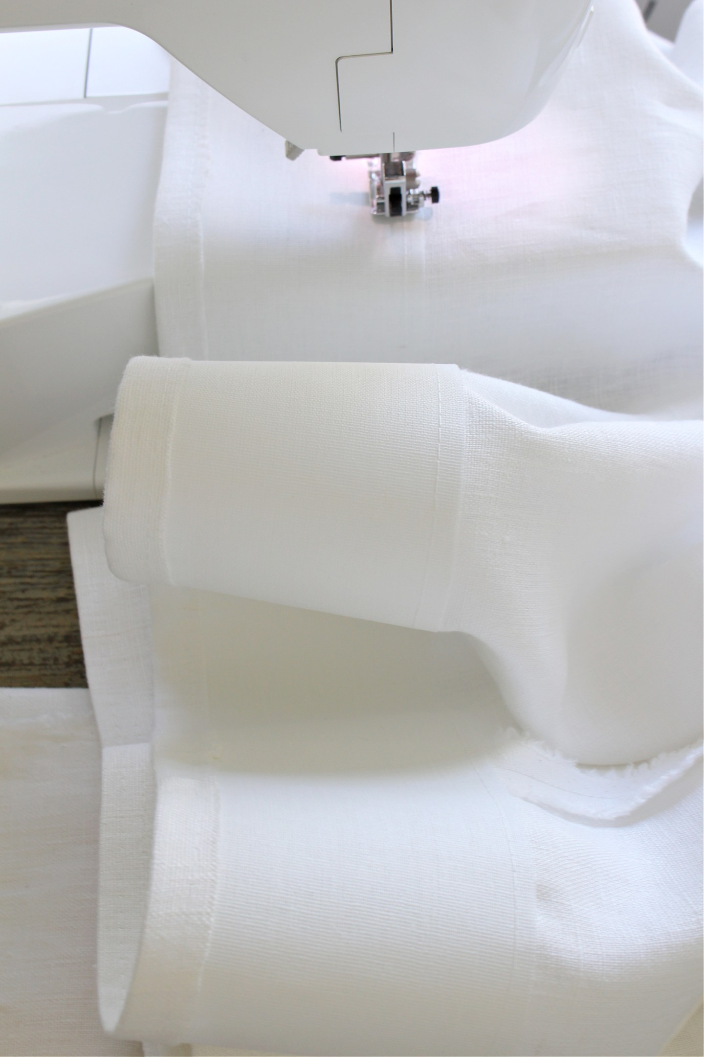 Sewing Buckram Tape into Curtain Panels