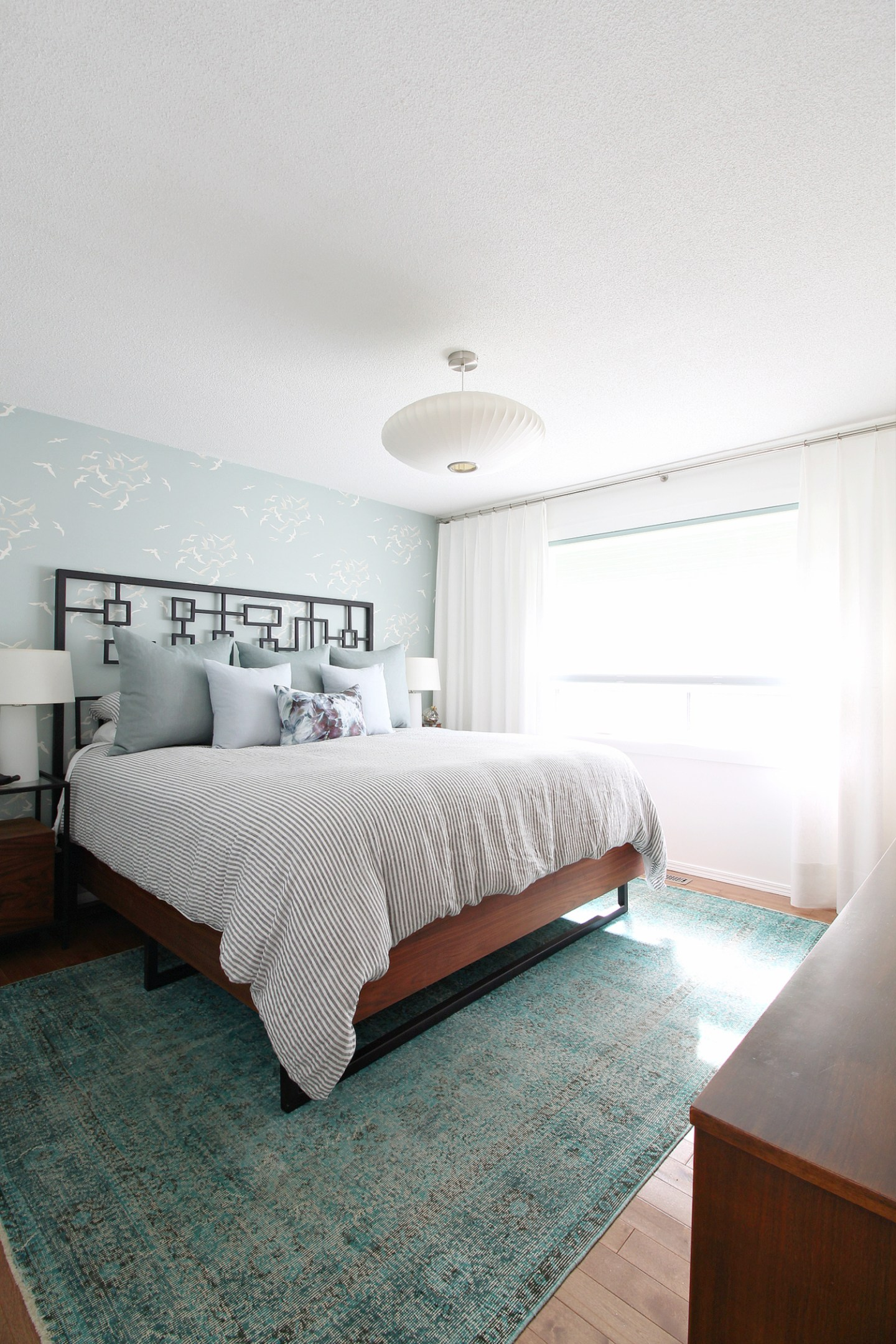 Coastal Bedroom with Seagull Wallpaper