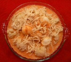 chou fleur gratine sauce aurore avec fromage