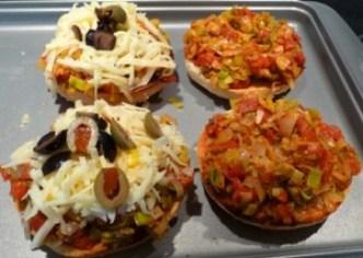 bagel tomate poireau - avant cuisson