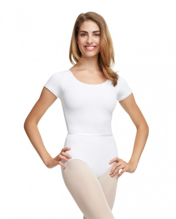 Capezio TC0054W short sleeve balletpakje WHT