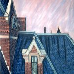 Pastel treatment of the Kirkbride roof