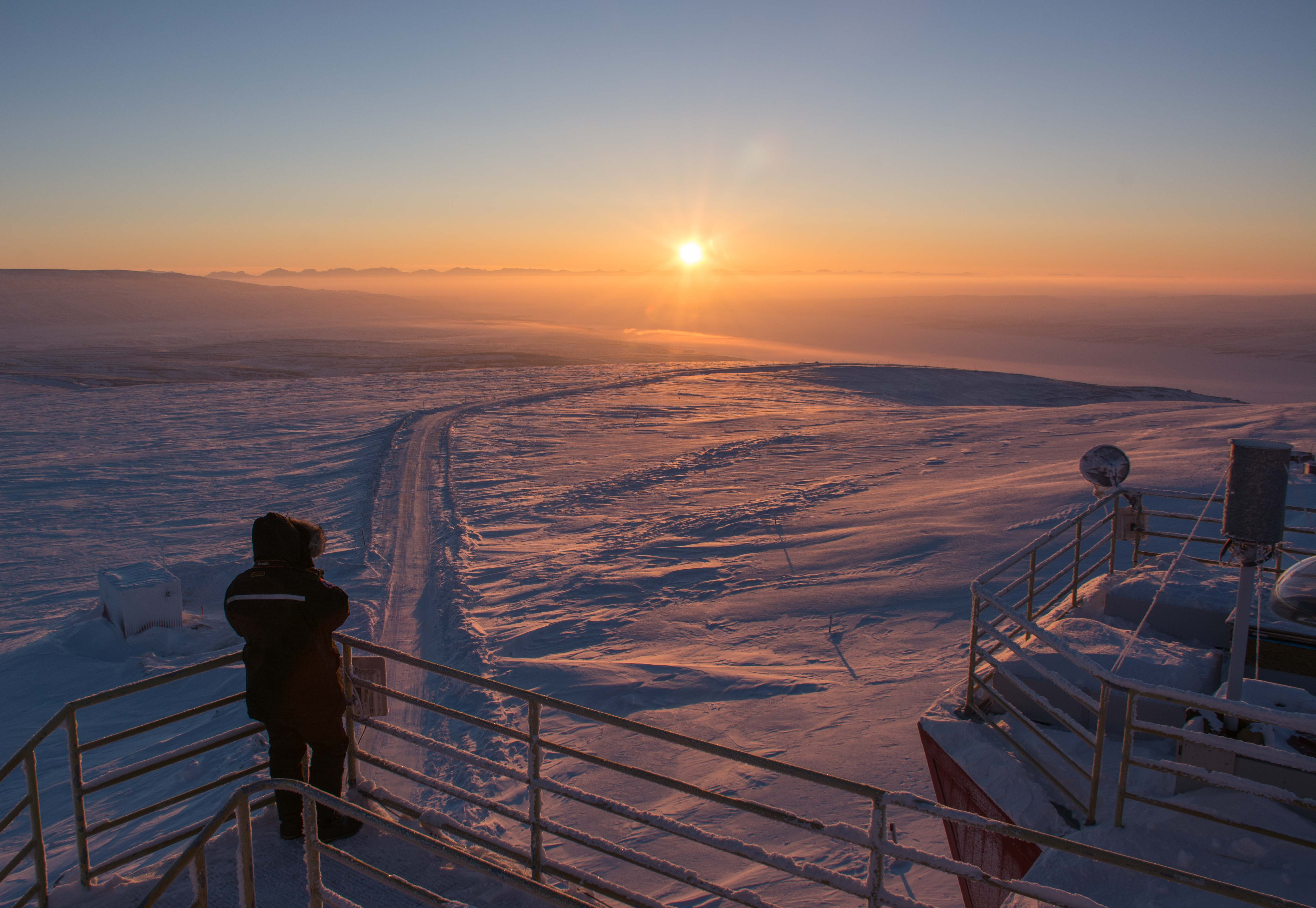 High Arctic sunrise from PEARL roof