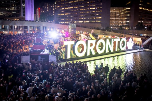 Toronto Nathan Philips Square during Nuit Blanche 2017