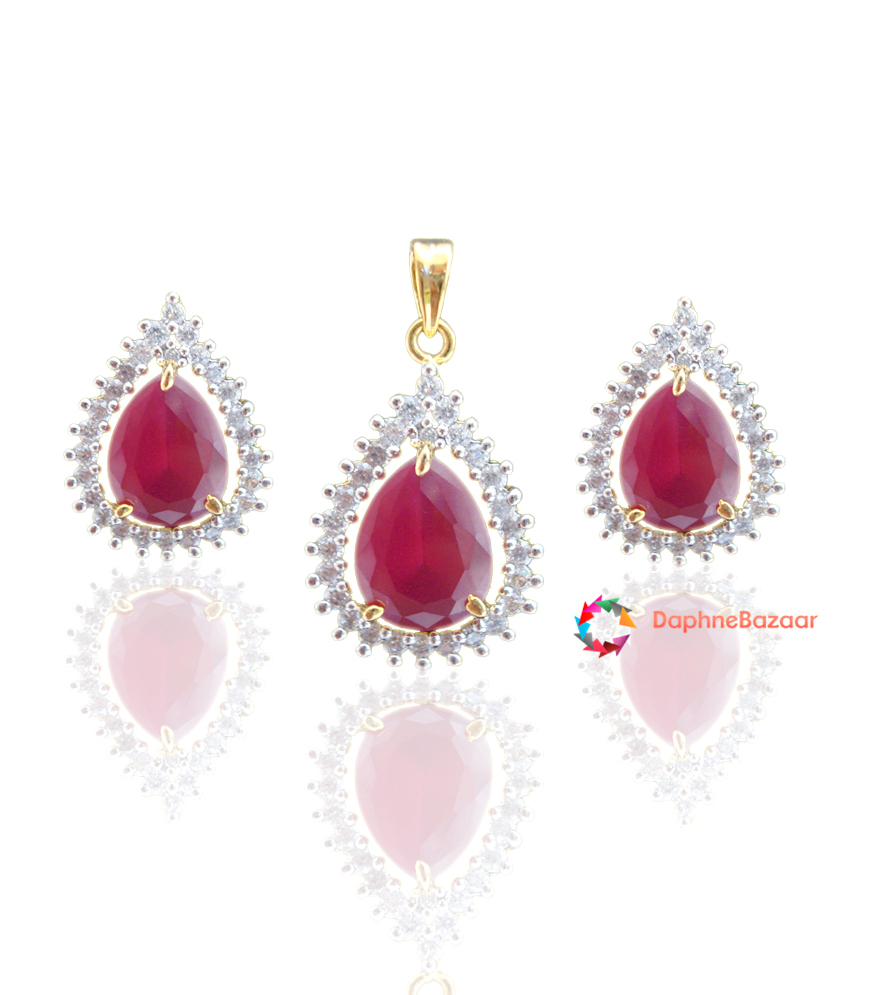 Daphne queen american diamond pendant and earrings ruby look american diamond pendant and earrings ruby look aloadofball Image collections