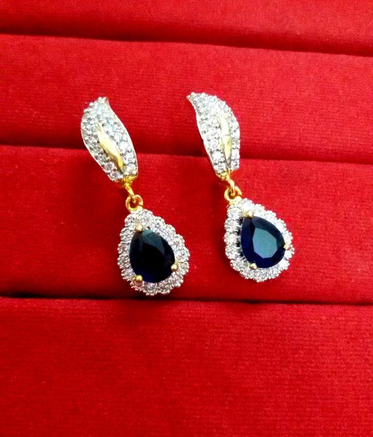 d5fc24d77 Daphne Sparkling Zircon Blue Shade earrings for Women, Best Anniversary Gift