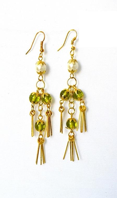 Greenbeads Flower Dangle Earrings, Yellow/White