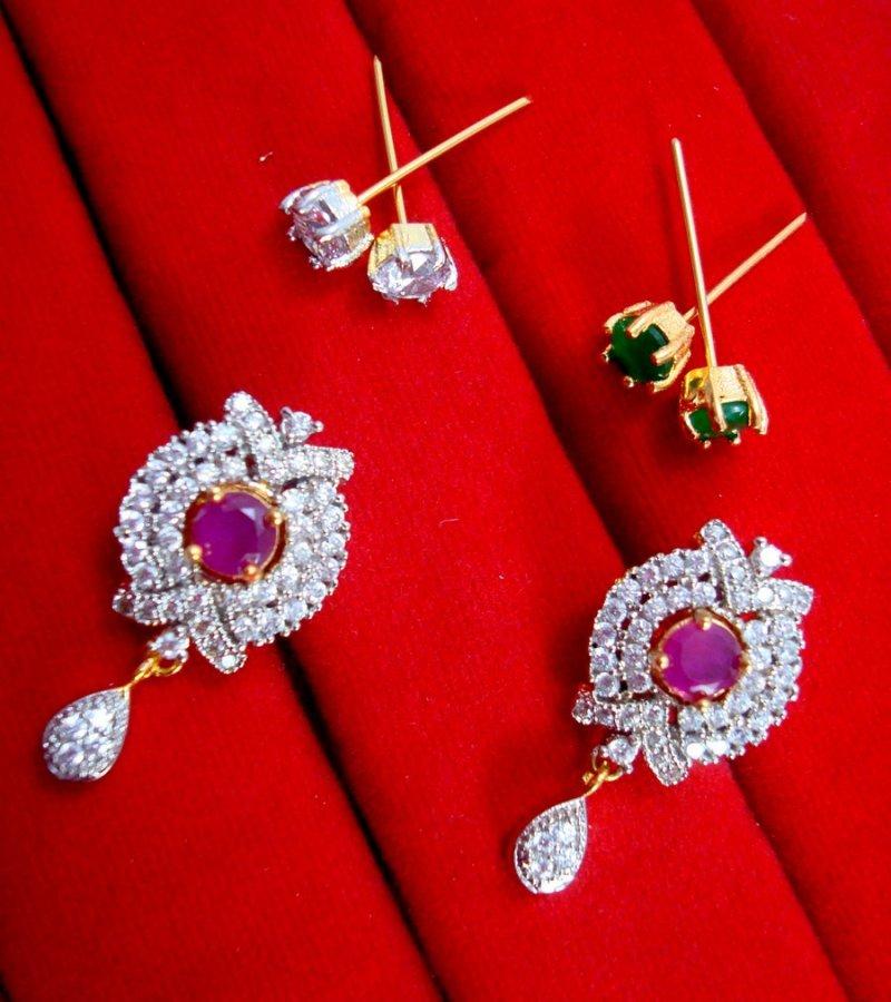 a20c93a70 Daphne Six In One Changeable Zircon Earrings for Women - Pink