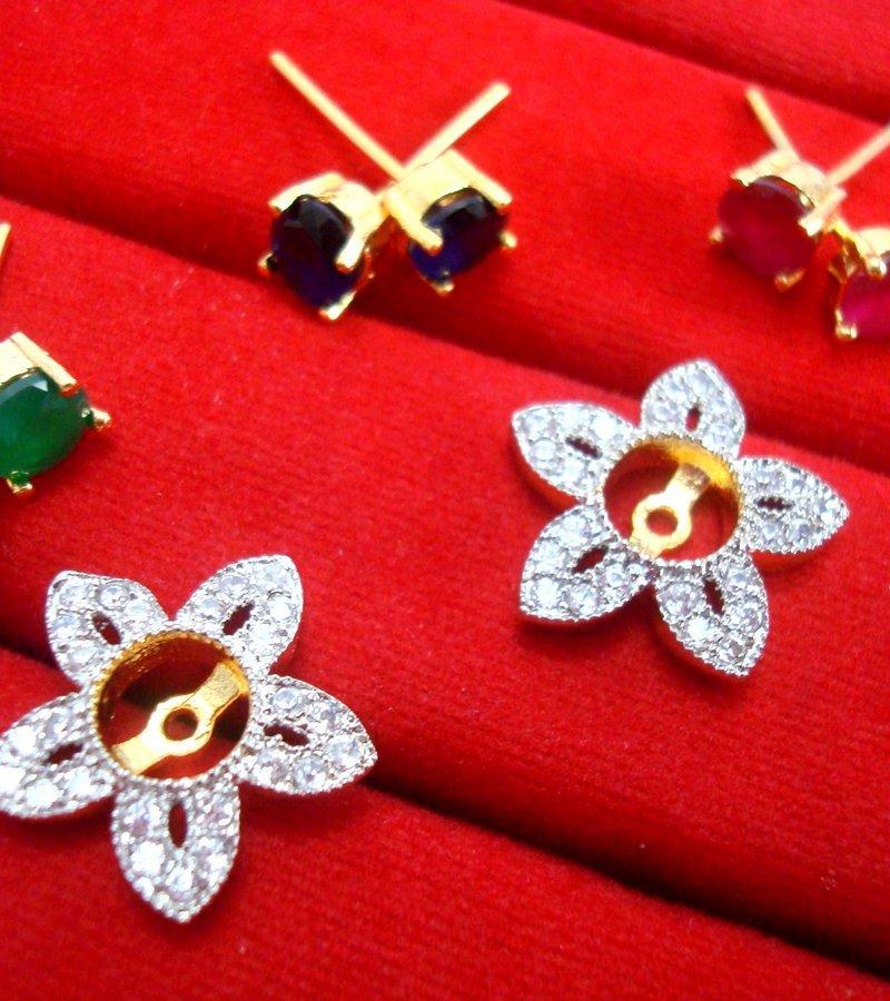 abea8cb73 ... 6 in 1 Cute Flower Changeable Studded Zircon Earrings - FRAME ...