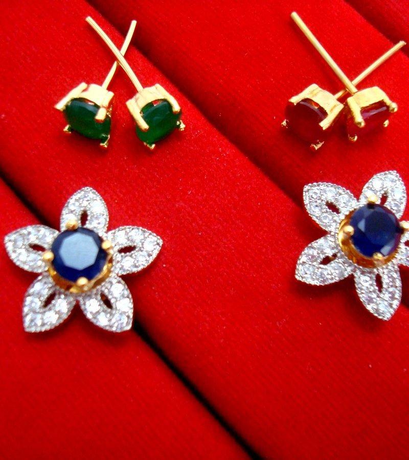 035d8a38d ... 6 in 1 Cute Flower Changeable Studded Zircon Earrings for Women for  Rakhi Gift - BLUE ...