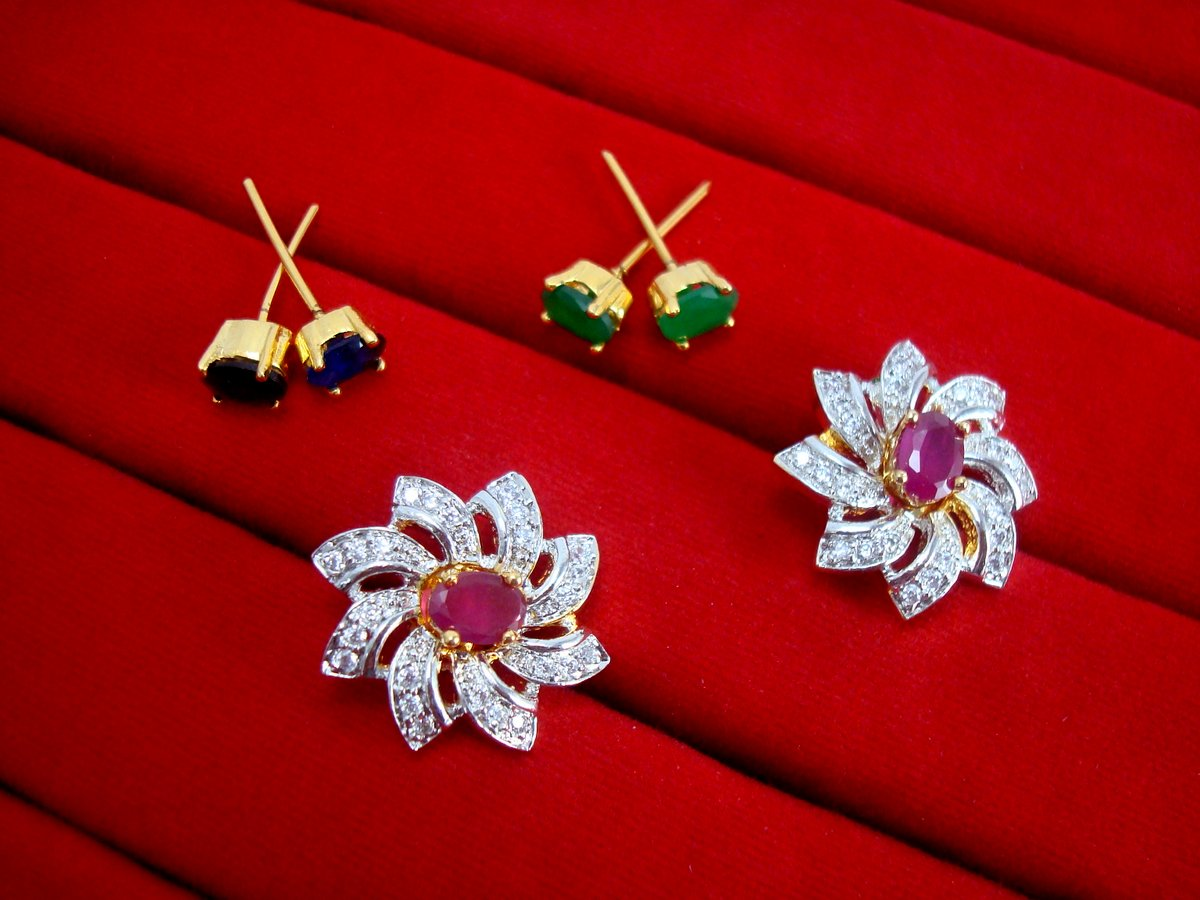 4f5b1f9a2 6 in 1 Studded Zircon Earrings for Women - Pink for Rakhi Gift