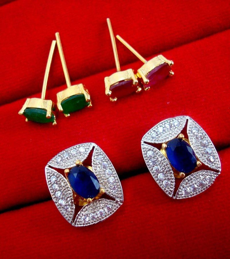 Fashionable SixInOne Changeable Zircon Earrings for Women 30181da3d3