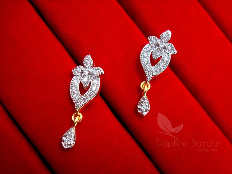 MS13E Daphne Zircon Studded Designer Earrings for Women Wedding