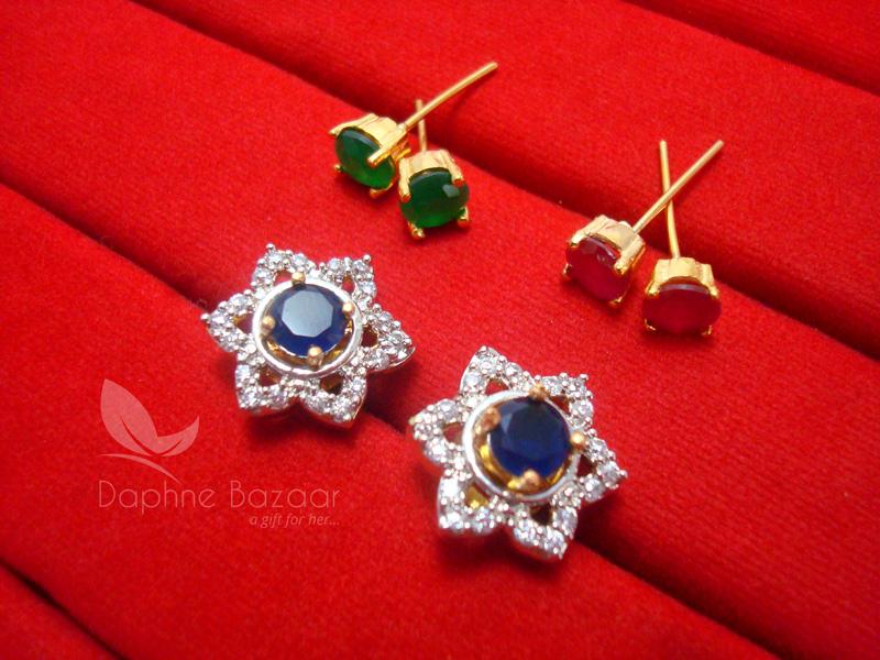 dedd44ed2 CE27, 6 in 1 Cute Flower Changeable Studded Zircon Earrings - BLUE