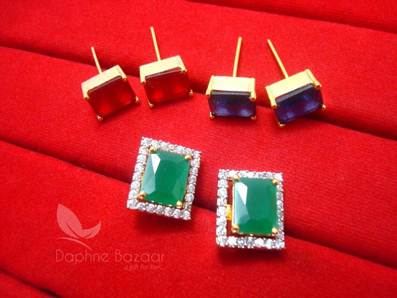 8c11e31ff CE28, 6 in 1 Changeable Studded Zircon Earrings for Women