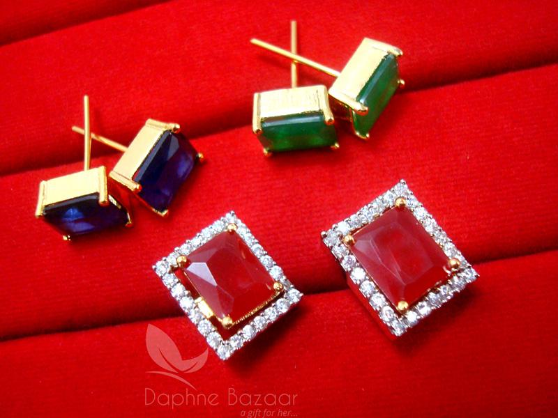 9b4d13360 ... CE28, 6 in 1 Changeable Studded Zircon Earrings for Women - PINK