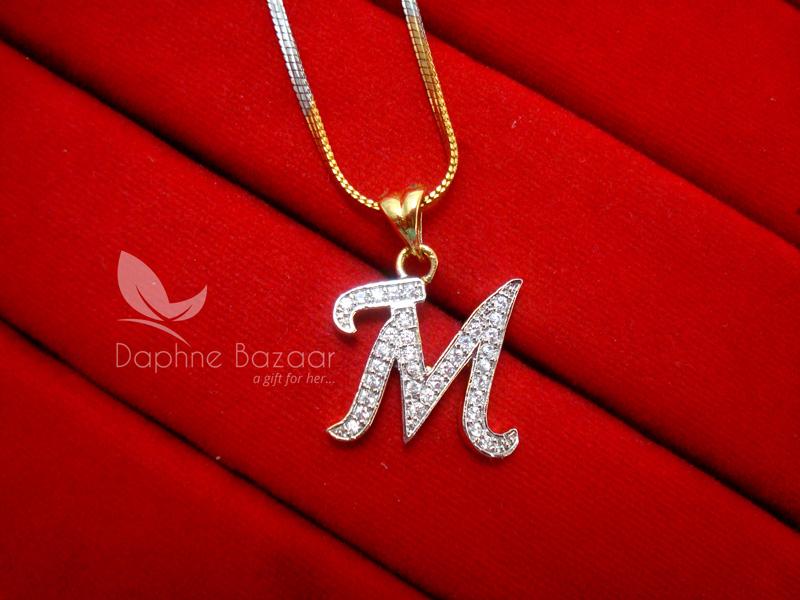 M alphabet daphne zircon pendant for men or women aloadofball Image collections