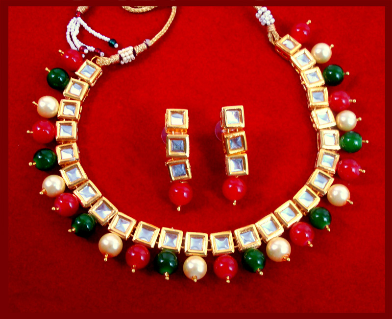 427bf30230a NK34 Traditional Multi Color Pearl Kundan Necklace Set with Earrings For  Women full view