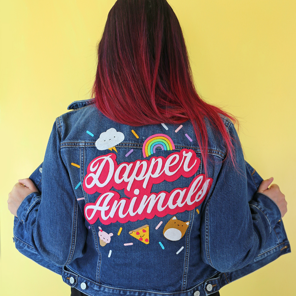 Handlettered felt denim jacket crafting project