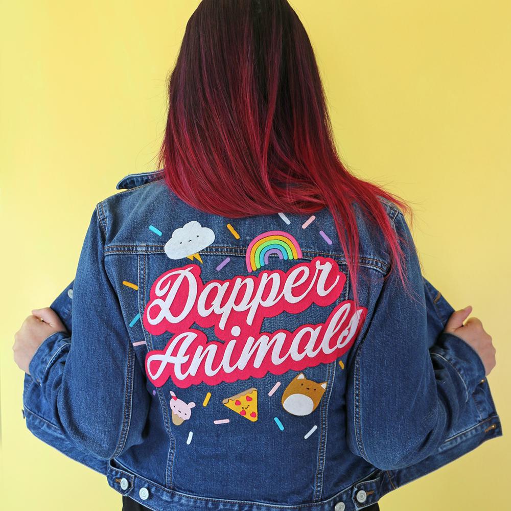 Handlettered felt denim jacket crafting project