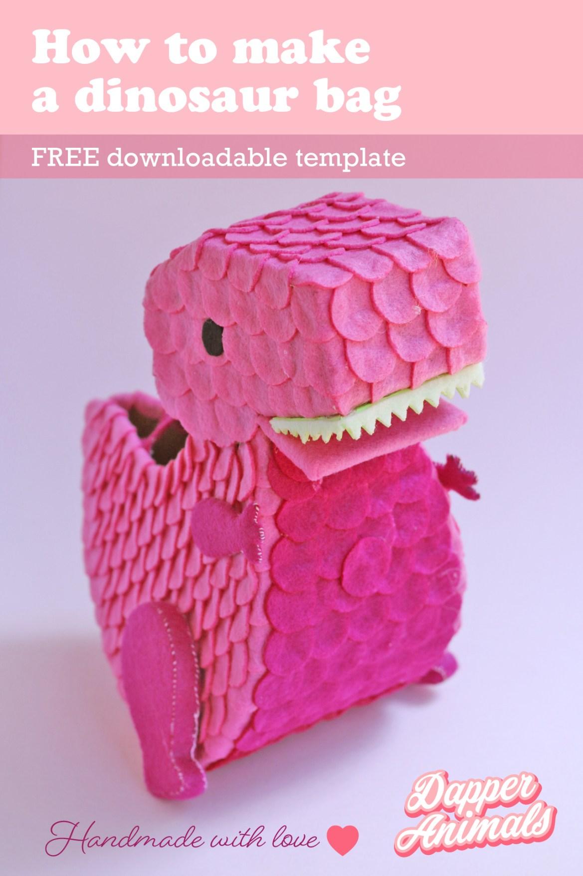 Step by Step tutorial to make an adorable felt dinosaur purse