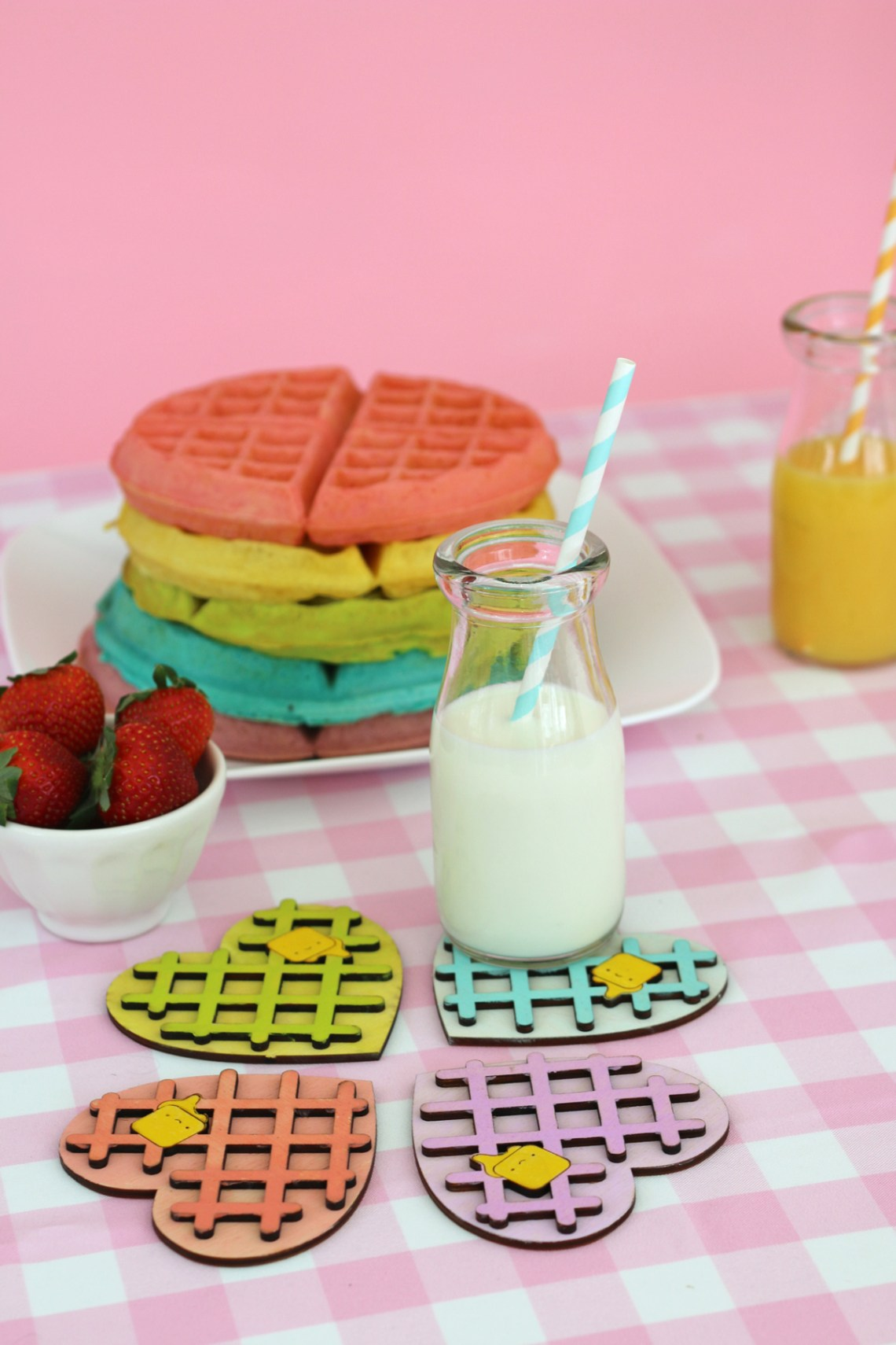 Kawaii Heart Shaped waffle coaster set with rainbow waffle stack. So cute