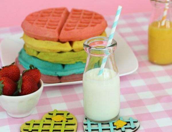 Kawaii Heart Shaped waffle coaster set with rainbow waffle stack. So cute