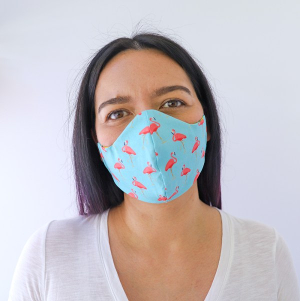 Reversible, double sided, Colorful, fun, and stylish flamingo face masks for adults