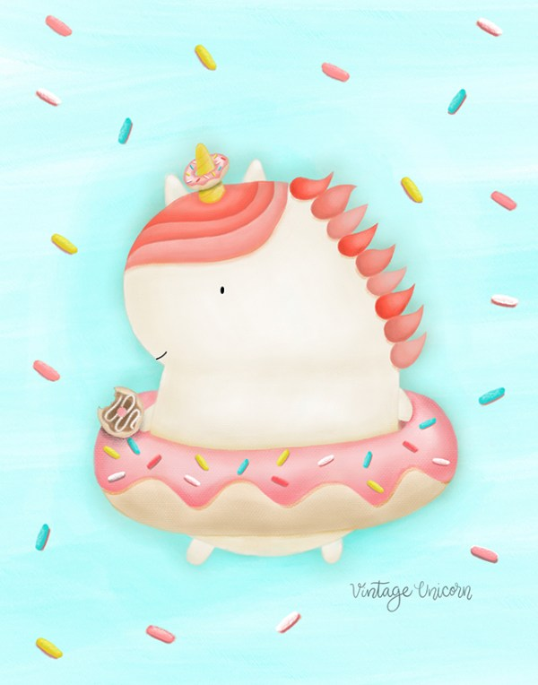 Donut Unicorn with Sprinkles Print