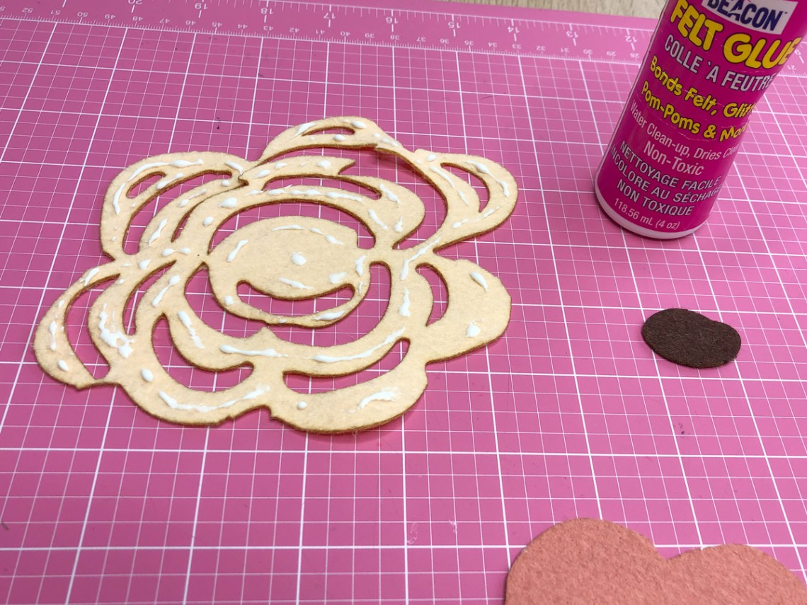 Step 2 - Glue top flower cut out over backing