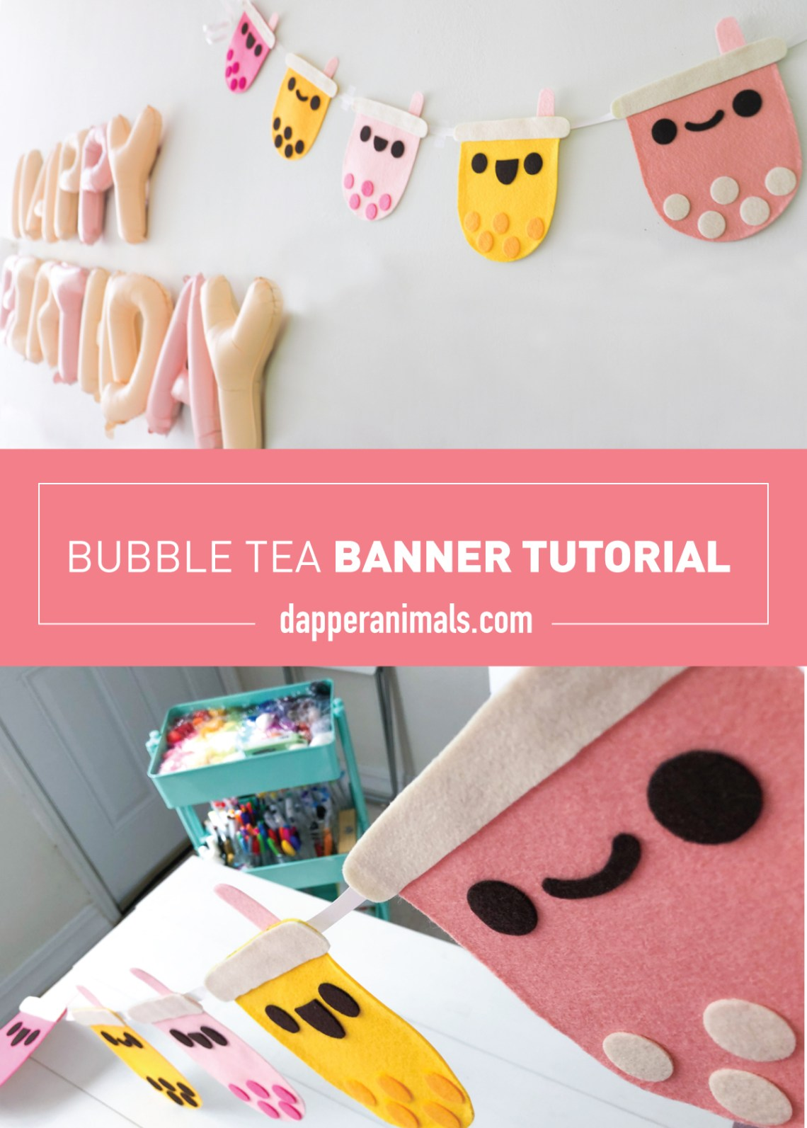 Bubble Tea Party Theme Banner