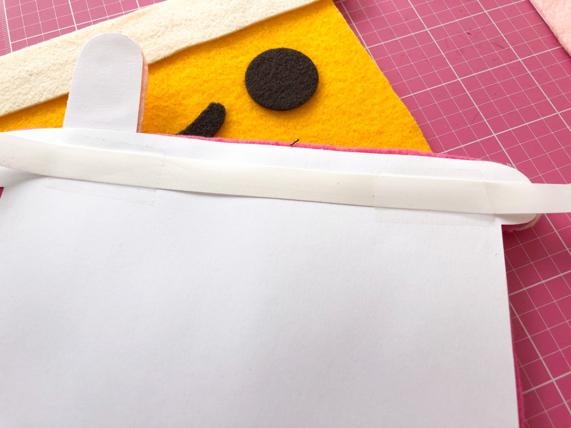 Felt Bubble Tea Banner Tutorial: Tape Ribbon to backing