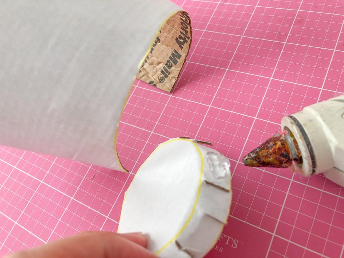 Felt Ice Cream Pin Cushion Tutorial glue bottom of cup