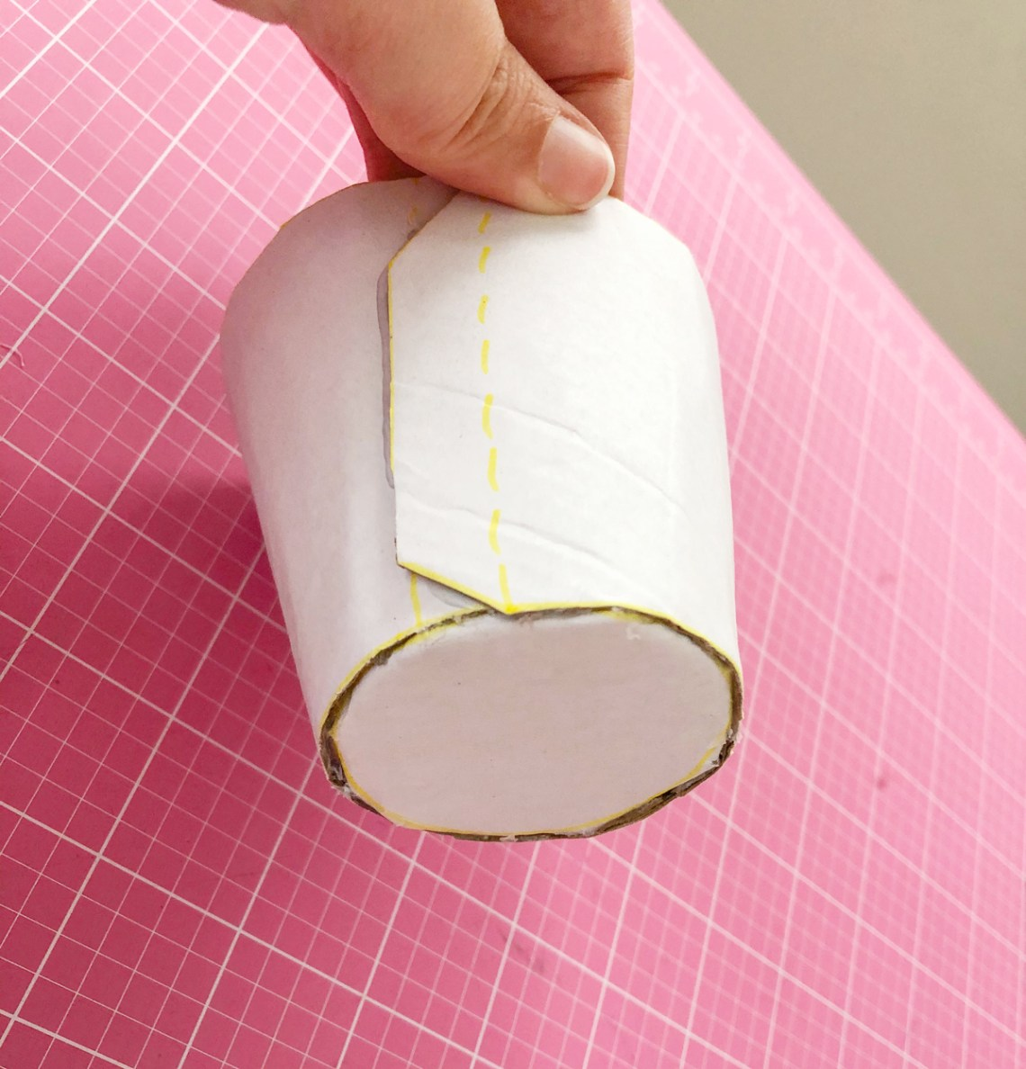 Felt Ice Cream Pin Cushion Tutorial hot glue to close cup