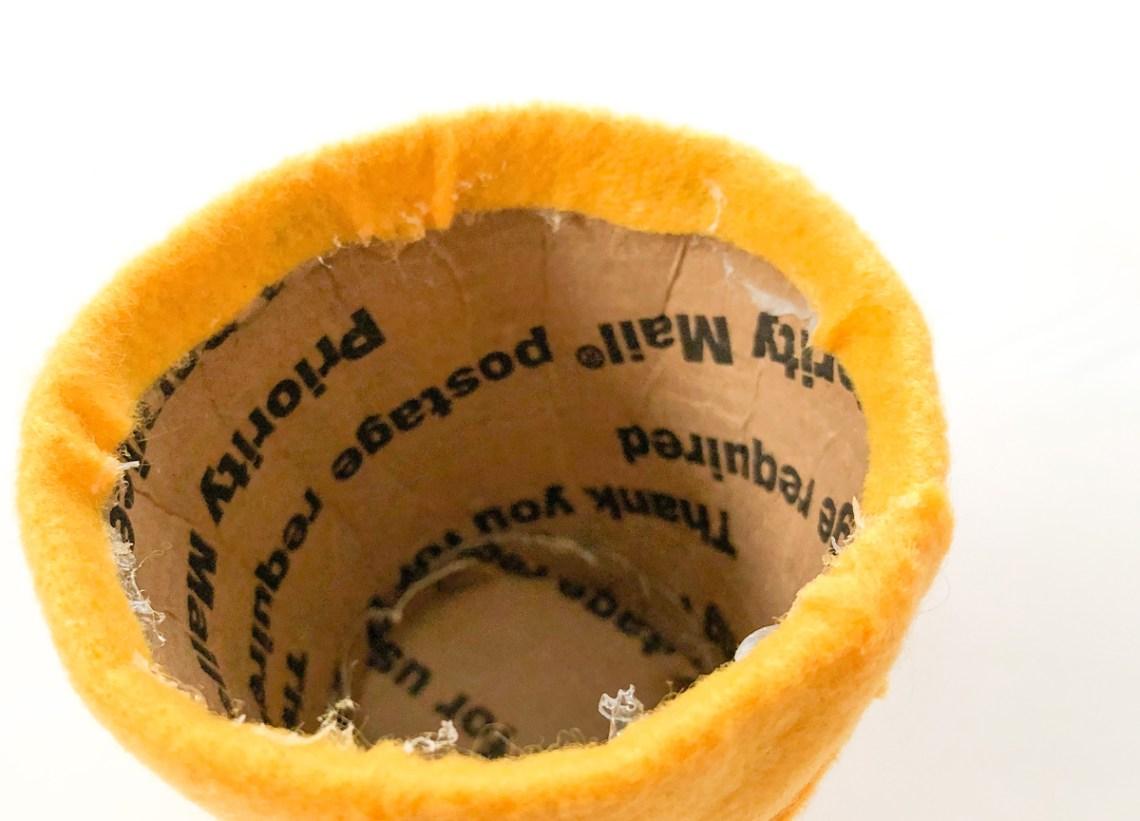 Felt Ice Cream Pin Cushion Tutorial attach ice cream cone felt to cardboard cup