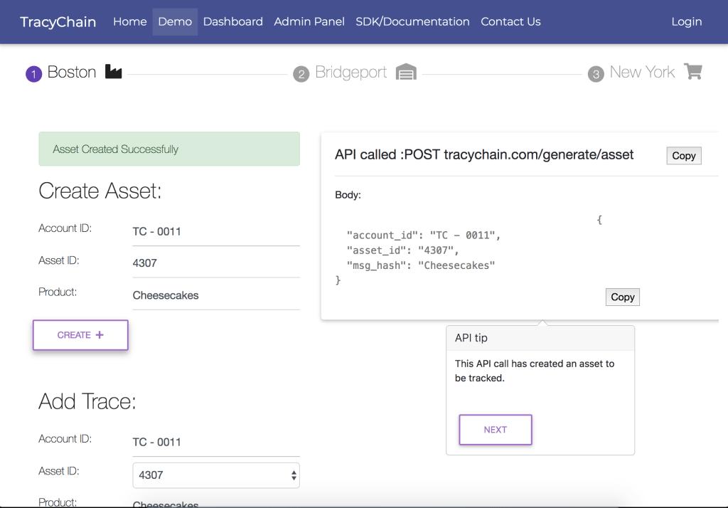 blockchain supply chain REST API for logistics systems (TracyChain demo screenshot)
