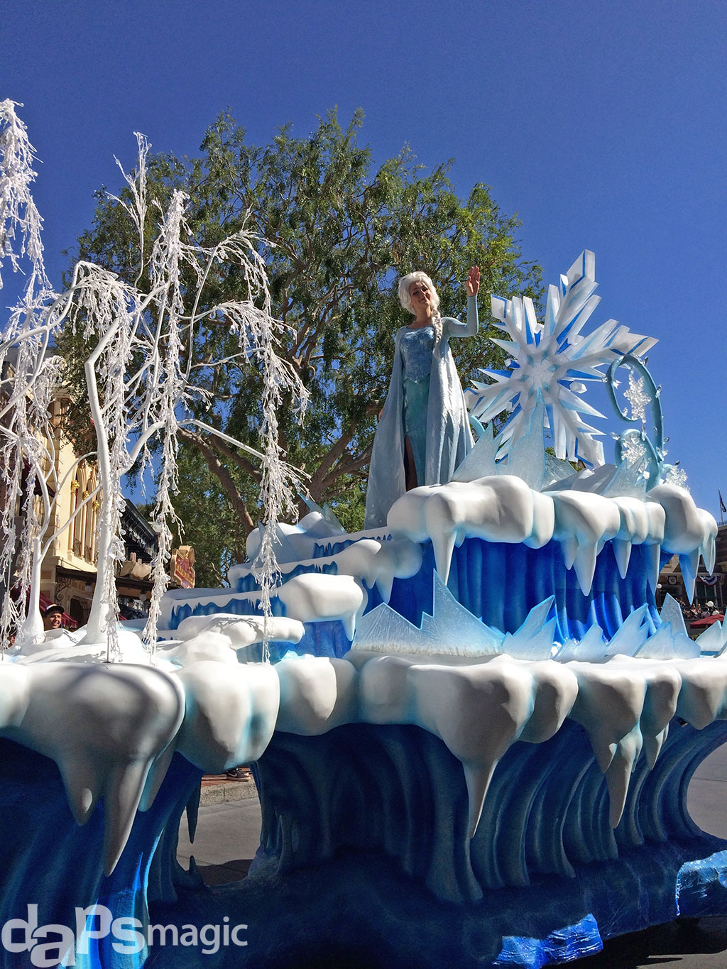 Elsa in the Frozen Pre-Parade at Disneyland