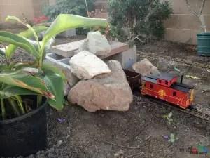 Mr. DAPs Garden Railway - First Attempt - Rocks Go Atop the Cinder Blocks