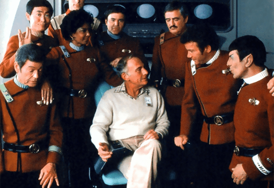 Harve Bennett with Star Trek Enterprise Crew