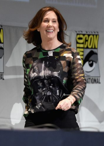 SAN DIEGO, CA - JULY 10: Producer Kathleen Kennedy at the Hall H Panel for `Star Wars: The Force Awakens` during Comic-Con International 2015 at the San Diego Convention Center on July 10, 2015 in San Diego, California. (Photo by Michael Buckner/Getty Images for Disney) *** Local Caption *** Kathleen Kennedy