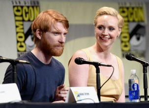 SAN DIEGO, CA - JULY 10: Domhnall Gleeson (L) and Gwendoline Christie at the Hall H Panel for `Star Wars: The Force Awakens` during Comic-Con International 2015 at the San Diego Convention Center on July 10, 2015 in San Diego, California. (Photo by Michael Buckner/Getty Images for Disney) *** Local Caption *** Domhnall Gleeson; Gwendoline Christie