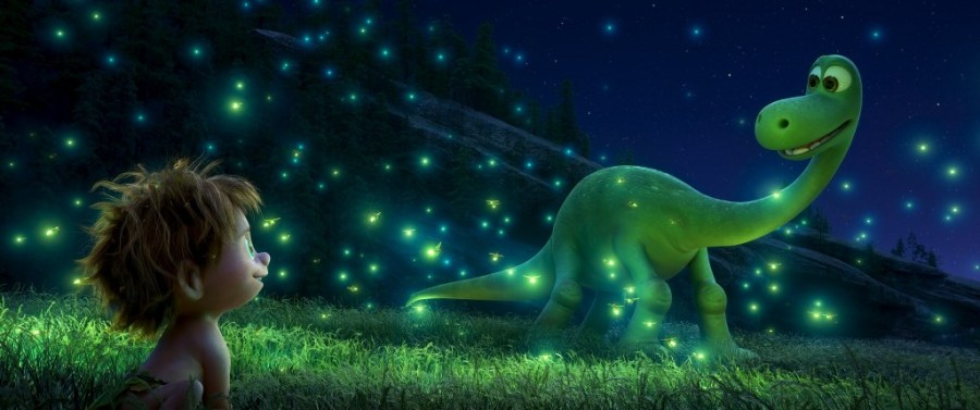 "THE GOOD DINOSAUR – SEEING THE LIGHT — An Apatosaurus named Arlo makes an unlikely human friend in Disney•Pixar's ""The Good Dinosaur."" Directed by Peter Sohn, ""The Good Dinosaur"" opens in theaters nationwide Nov. 25, 2015. ©2015 Disney•Pixar. All Rights Reserved."