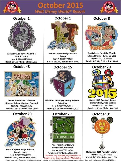 Disney Parks Pins October
