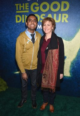 "HOLLYWOOD, CA - NOVEMBER 17: ""Sanjay's Super Team"" Director Sanjay Patel (L) and producer Nicole Paradis Grindle attend the World Premiere Of Disney-Pixar's THE GOOD DINOSAUR at the El Capitan Theatre on November 17, 2015 in Hollywood, California. (Photo by Alberto E. Rodriguez/Getty Images for Disney) *** Local Caption *** Sanjay Patel; Nicole Paradis Grindle"